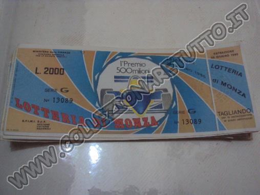 biglietti lotteria monza